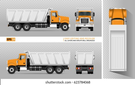 Vector dump truck. Tipper lorry on transparent background. All elements in the groups have names, the view sides are on separate layers for easy editing. View from side, back, front and top.