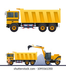 Vector dumper and road worker, illustration of road works truck on road, worker in helmet, vector yellow dump truck