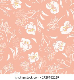 Vector dusty pink botany hand drawn buttercup repeat pattern with shape and outline florals on blue background. Nature background. Surface pattern design.