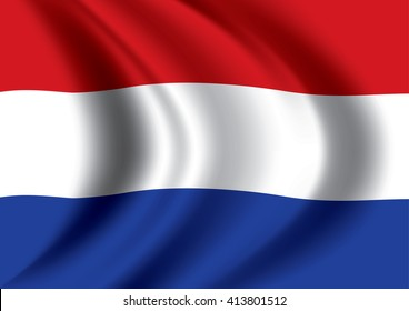 Vector Dutch flag blowing in the wind. Netherlands flag.