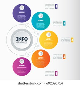 Vector dynamic infographics of technology or education process. Business presentation or info graphic with 5 options. Part of the report. Web Template of a chart, mindmap or diagram