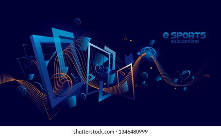 Vector e sports with futuristic technology background design.
