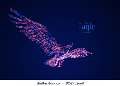 Vector Eagle in flight from abstract swirl lines. Eagle in motion, blue and red lines. Concept of freedom, power, flight. Conceptual illustration with sense of volume and motion.