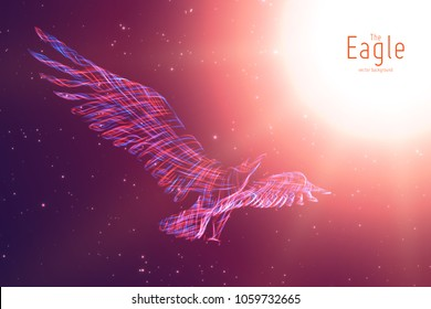 Vector Eagle in flight to the sun from abstract swirl lines. Eagle in motion, blue and red lines. Concept of freedom, power, flight. Conceptual illustration with sense of volume and motion.
