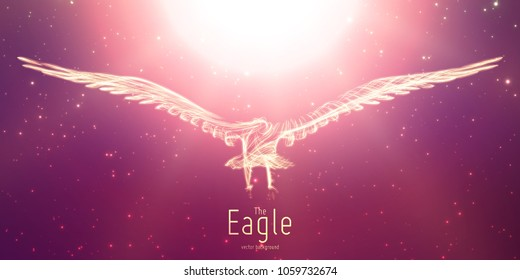 Vector Eagle in flight to the sun from abstract swirl lines. Eagle in motion, fire lines. Concept of freedom, power, flight. Conceptual illustration with sense of volume and motion.