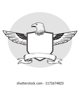 Vector Eagle Head and Wings Behind Shield with Banner Below in Black and White. Add Your Own Text.