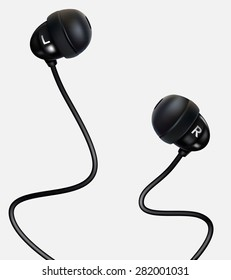 Vector. Earphones isolated on the white background.