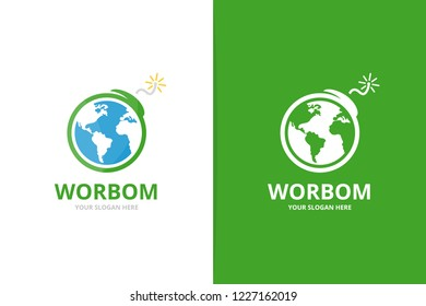 Vector earth and bomb logo combination. Globe and terrorism symbol or icon. Unique conflict, world, global, ecology, warming logotype design template.