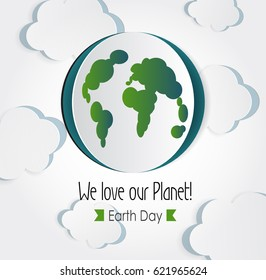 Vector Earth Day. Eco friendly ecology concept. World environment day background. Realistic 3d origami illustration. Cutout  paper planet with map and clouds.Ecological idea. Healthy lifestyle