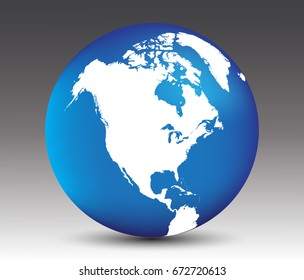 Vector earth globe icon with map of North America.