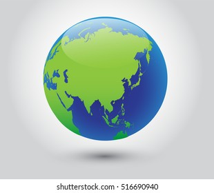Vector earth globe icon world with map of Asia.