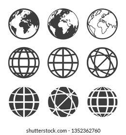 vector earth and globe icons set
