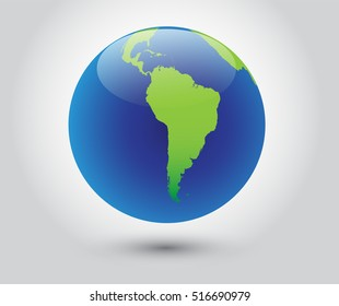 Vector earth globe icon.World globe with map of South America.