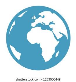 Vector earth globe illustration. planet symbol. world map icon