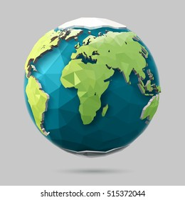 Vector earth globe illustration. Polygonal planet. Low poly design.
