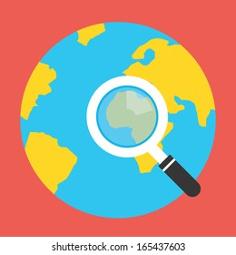Vector Earth Globe and Magnifying Glass Icon