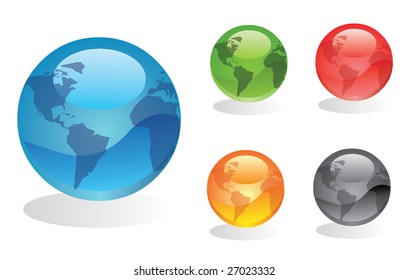 Vector earth globes
