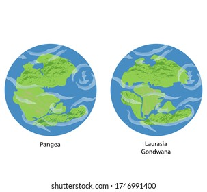 Vector Earth illustrations of continental drift, flat globe icons with supercontinents: Pangea, Laurasia, Gondwan (Paleozoic and Mesozoic eras).