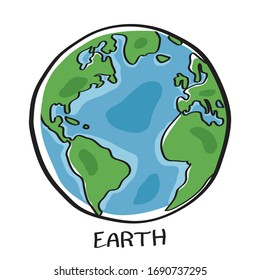 Vector of Earth isolated on white background with text EARTH under image. Free Hand drawn style.