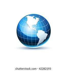Vector Earth Planet Facing America
