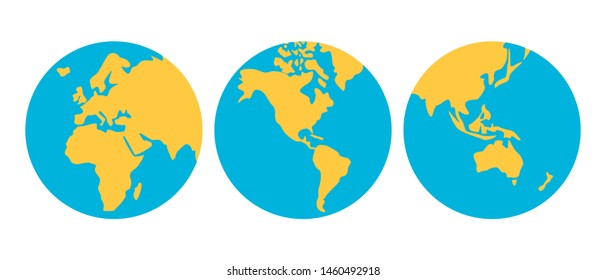 Vector Earth Set.  Earth globes from different angles icons. illustration isolated on white background.