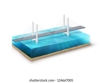 vector Earth slice - bridge illustration