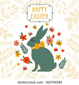 """Vector Easter background with cute Easter bunny, floral elements, frame and text """"Happy Easter"""". Bright childish holiday card with Easter rabbit."""