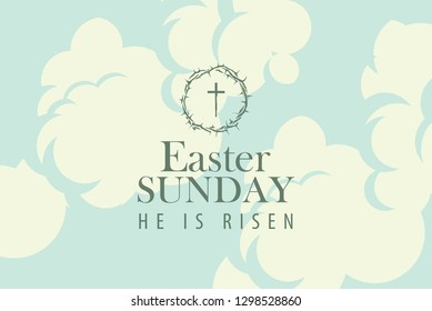 Vector Easter banner or card with words Easter Sunday, He is risen on the background of blue sky with clouds