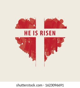 Vector Easter banner or card with words He is risen. The sign of the white cross in the abstract red heart inside. Love of God, religious symbol. Creative vector illustration.
