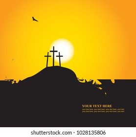 Vector Easter banner with place for text with a picture of mount Calvary, the three crosses and vultures at sunset