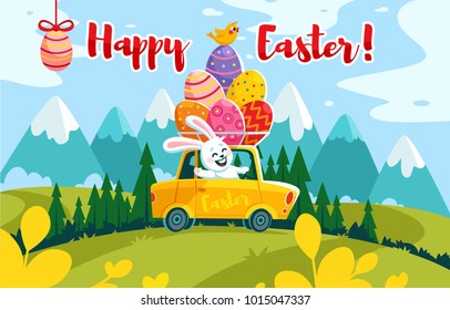 vector easter car egg bunny driving horisontal