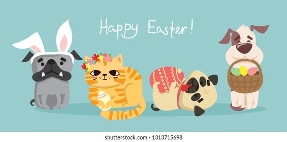 Vector Easter card with cute puppy dogs and cats with rabbit ears, spring flower, egg and hand drawn text - Happy Easter in the flat style