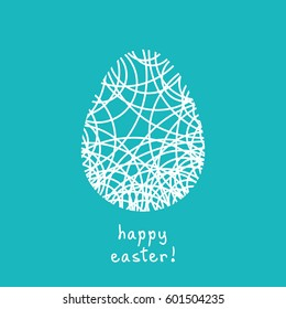 Vector Easter card. Egg doodle background. Cute hand drawn childish invitation, greeting card. Holiday linear illustration for print, web