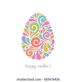 Vector Easter card. Egg made from swirl color shapes. Original decorative illustration for print, web