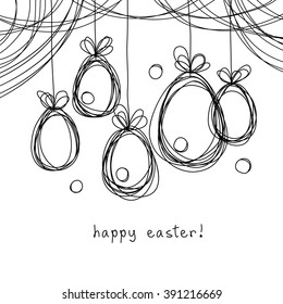 Vector Easter card. Eggs doodle background. Cute hand drawn childish invitation, greeting card. Holiday linear illustration for print, web