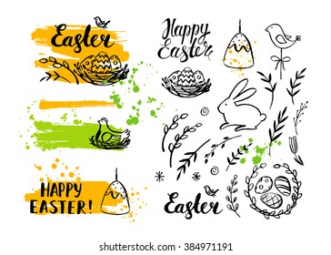 Vector Easter card and hand drawn elements: bunny, eggs and chicken. Modern brush calligraphy. Ink handwriting inscriptions. Typography and lettering.