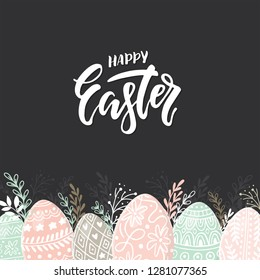 Vector Easter composition with easter eggs hand drawn on dark background. Decorative frame from eggs. Easter eggs with  leaves and lettering