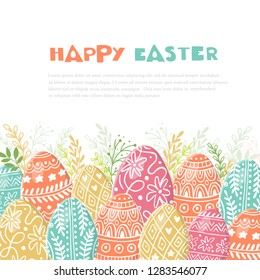 Vector Easter composition with easter eggs hand drawn on white background. Decorative frame from eggs. Easter eggs with  leaves and lettering