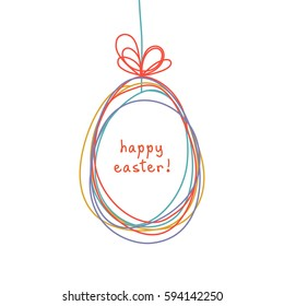 Vector Easter egg doodle background. Cute hand drawn childish invitation, greeting card. Holiday linear illustration for print, web