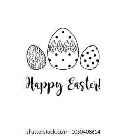 Vector Easter eggs flat outline icon on color Background. Happy Easter greeting card. Hand drawn illustration.