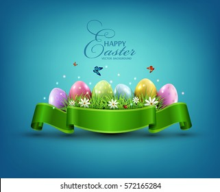 Vector Easter eggs with grass and flowers in green ribbon isolated on a blue background. Element for celebratory design.