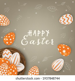 Vector Easter eggs in the nest. Leaves line on brown background.
