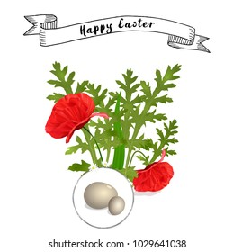 vector Easter floral background with poppies