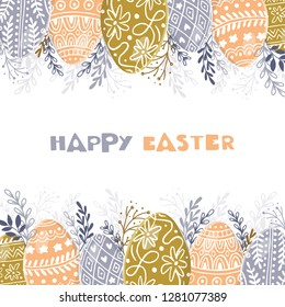 Vector Easter frame with easter eggs hand drawn on white background. Decorative frame from eggs. Easter eggs with  leaves and lettering