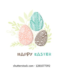 Vector Easter greeting card with easter eggs hand drawn on white background. Decorative  eggs. Easter eggs with  leaves and lettering