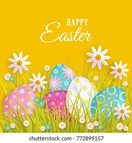 Vector Easter Holiday Poster Banner Background Template With Spring Festive Elements