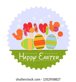 Vector Easter illustration with colorful eggs and candies in flat style. Holiday decoration element. Easter, spring concept. Holiday card. Religion festive holiday decoration.