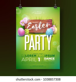 Vector easter party flyer Illustration with painted eggs and typography elements on wood textue background. Nature spring holiday celebration poster design template.