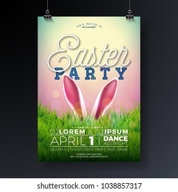 Vector Easter Party Flyer Illustration with rabbit ears and typography elements on nature green grass background. Spring holiday celebration poster design template.