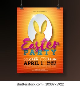 Vector Easter Party Flyer Illustration with rabbit ears in cutting egg silhouette and typography elements on orange background. Spring holiday celebration poster design template.